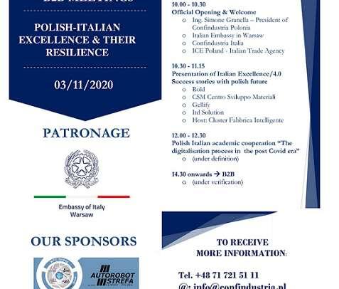 "AGGIORNAMENTO EVENTO ""Conference Room: Polish-Italian excellences & their resilience""                                                     3 Novembre 2020"