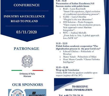 """AGGIORNAMENTO EVENTO """"Virtual Conference: Industry 4.0 Excellence – Road to Poland"""" 3 Novembre 2020"""